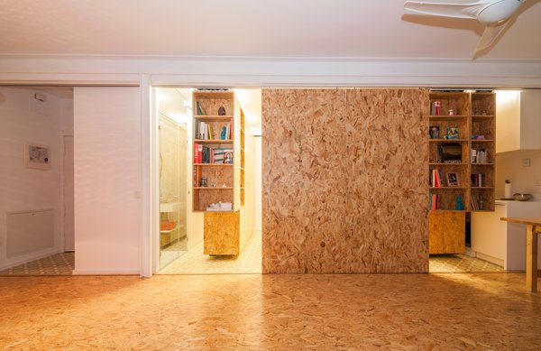 Sliding walls can be pulled shut when privacy is desired.