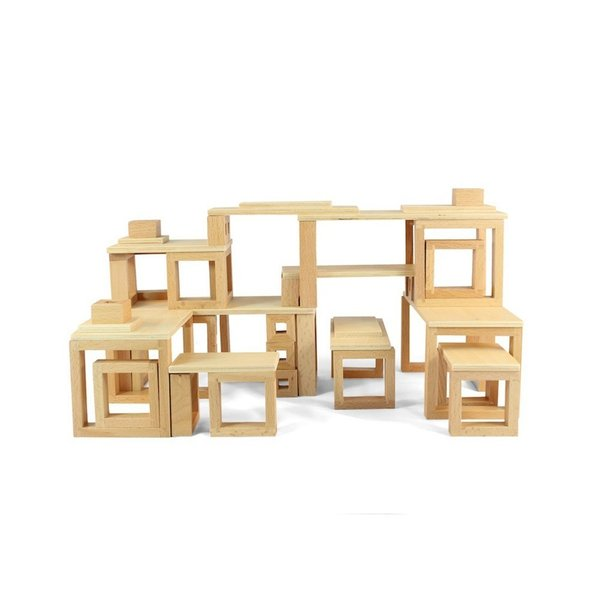 The Constructures Building Set from Brinca Dada is an educational and modern toy. The set is made up of a collection of windows that can be stacked and placed to create modernist structures. An elevated take on classic building blocks, this set will be a treasured toy for budding modernists.