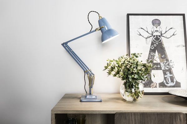 The newly released Original 1227 Brass Desk Lamp in Dusty Blue is both cheerful and sophisticated.