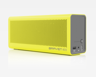 805 by Braven, $200.   Available in nine vibrant colorways, the 805 wireless Bluetooth speaker by Braven is not meant to blend quietly into your decor, but interact with and enhance it.