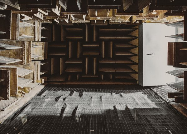 Products can be tested in the anechoic chamber, made of sound-absorbing fiberglass panels.
