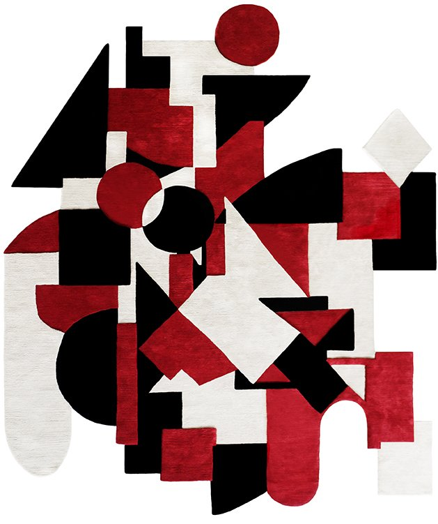 The design by Assume Vivid Astro Focus, the art collective founded by Brazilian artist Eli Sudbrack, features layered shapes of different depths in a graphic palette of black, white, and red.  Would You Buy These Bold Art Rugs for Your Living Room? by Heather Corcoran