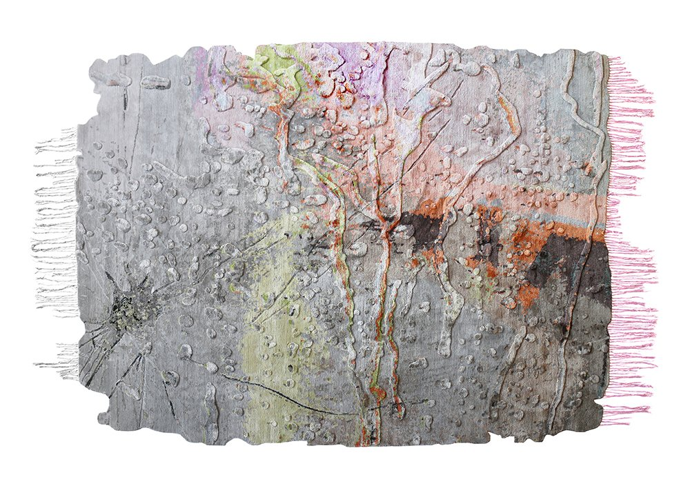 Marilyn Minter reinterpreted her photograph Cracked Glass by combining variable pile heights to create three-dimensional cracks and raised water droplets, which are enhanced by silk with contrasting sheen.  Would You Buy These Bold Art Rugs for Your Living Room? by Heather Corcoran