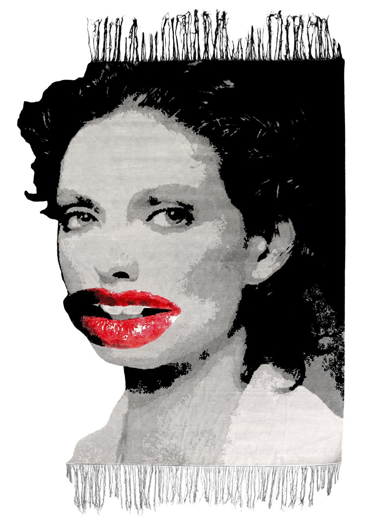 An icon of the Manchester music scene, Linder reinterpreted his signature collage style in this design, with its bright-red lips that seem pasted on a black-and-white background.  Would You Buy These Bold Art Rugs for Your Living Room? by Heather Corcoran