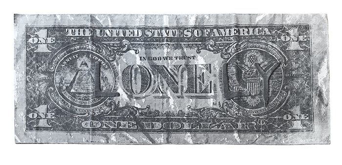 """Defacing money to subvert its value is at the core of much of the work of tattoo-artist-turned-fine-artist Scott Campbell, as in this rug with raised doodles """"drawn"""" on a dollar bill.  Would You Buy These Bold Art Rugs for Your Living Room? by Heather Corcoran"""