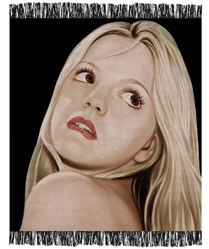 Richard Phillips's art explores the contemporary obsession with celebrity, and the voyeuristic culture surrounding it, as in this knotted interpretation of his painting Lip Biter, which depicts a Britney Spears-like blonde.  Would You Buy These Bold Art Rugs for Your Living Room? by Heather Corcoran