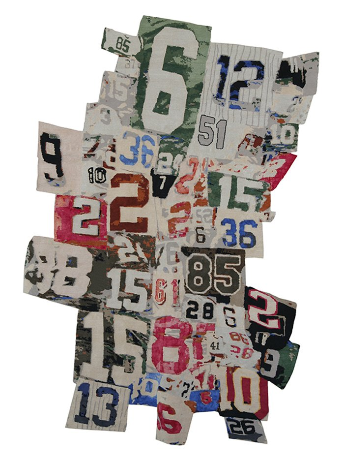 Richard Prince transforms his career-long obsession with appropriation into a freeform rug that riffs on collage, using numbers pulled from athletic jerseys.  Would You Buy These Bold Art Rugs for Your Living Room? by Heather Corcoran