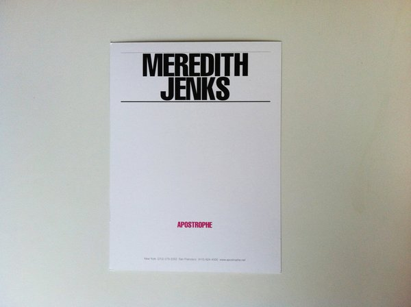 The back of Meredith Jenks' latest promo card from Brooklyn.