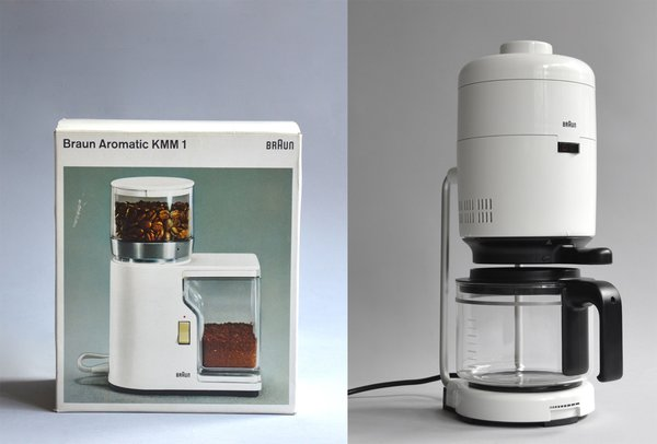 Braun KF 21 Aromaster designed by Florian Seiffert and Hartwig Hahlcke (1976), in white or orange.