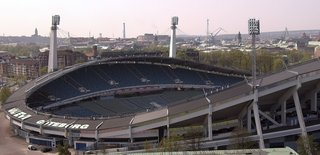 Ullevi (Gothenburg, Sweden: 1958 World Cup)  Named after the Norse god of games, Sweden's largest outdoor stadium may be many decades old, but it hasn't fallen behind its younger brethren in terms of innovation. A massive bank of solar cells installed in 2007 generates enough electricity to run lighting during evening concerts and events.   Photo by Wikimedia Commons