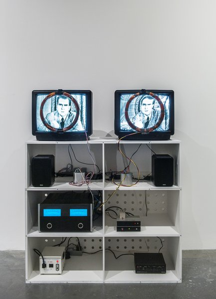 Nixon (1965-2002), Nam June Paik  In this piece, Paik used magnetic coils and a Mackintosh amplifier to distort the broadcast image of Richard Nixon.