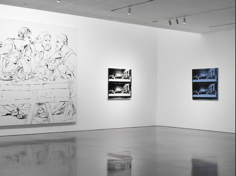 One of his final works before his death 1987; Warhol's The Last Supper is on view in the final large room, surrounded by complementary detail prints. The piece, which Warhol traced onto canvas in black ink from a photocopied image of Leonardo da Vinci's masterpiece, ads fittingly somber tone to the end of the exhibit.  Credit Stefan Altenburger, Courtesy The Brant Foundation  Photo 14 of 15 in Andy Warhol at The Brant Foundation Study Center