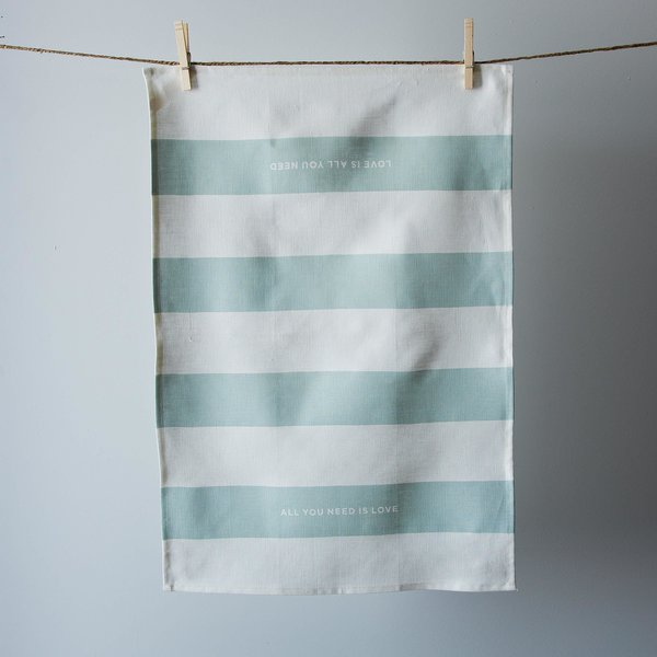 """Designed to soften with use and absorb with efficiency, these 100% linen tea towels are carefully sewn and handprinted one by one."" Linen tea towel made in San Francisco by Studiopatró at Provisions, $24."