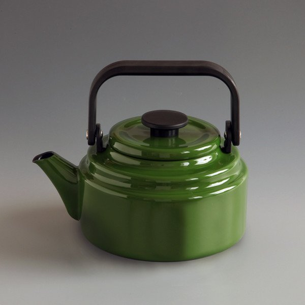 This glossy avocado-colored kettle was made by a Japanese enamelware company who has been in business for over 70 years. Suitable for induction, gas, or electric cookers. $96