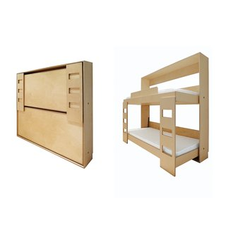 Do it Yourself: Double Murphy Bed, this Baltic birch bunk tucks into a 12-inch-deep wall for an easy hidden addition to your home. $4,500