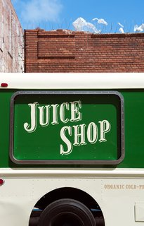 Detail of the service window. The retro sign was handpainted by New Bohemia Signs.  Photo by: Meg Haywood-Sullivan