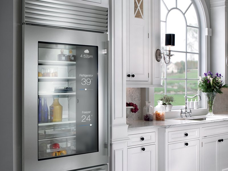 It's not hard to envision an Apple refrigerator that tells you what you're running out of and feeds you new recipes. Wagoner's creation focuses on weather and the temperature inside your fridge and freezer.  Photo by: Justin Wagoner  What iOS 7 Would Look Like in Your Home by Alexandra Chang