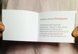 James used one page for his contact information.