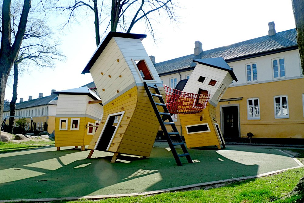 The neighborhood of Brumleby is one of Copenhagen's architectonic culture gems. The playground, designed by Monstrum, reflects the nature of the neighbourhood, while turning everything topsy-turvy.  Photo 2 of 8 in Imaginative Playgrounds by Monstrum