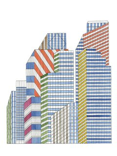 """In this image from In the City, illustrator Nigel Peake deciphers skyscrapers as an amalgam of """"tall glass and steel and neon."""""""