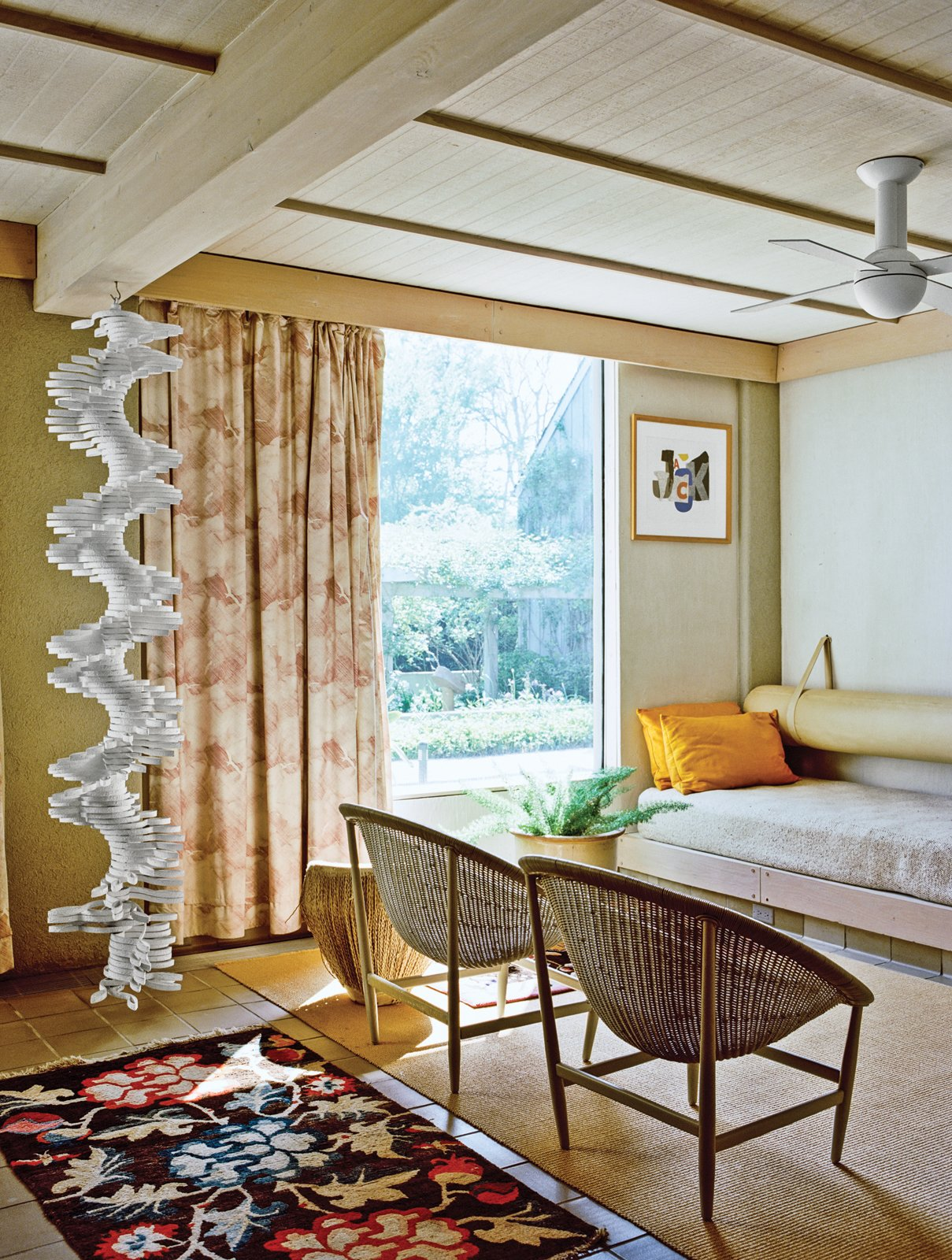 The ground-floor guest room sports built-in beds and a hanging sculpture by Robert Clark.  Photo 4 of 12 in Q&A with Textile Designer Jack Lenor Larsen