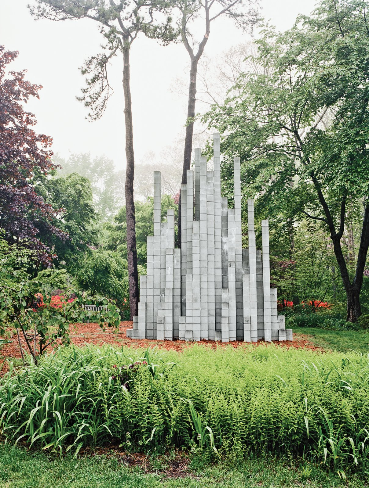 Site-specific installations dot the landscape, like a Sol LeWitt—one of the last he made before his death in 2007.  Photo 5 of 12 in Q&A with Textile Designer Jack Lenor Larsen