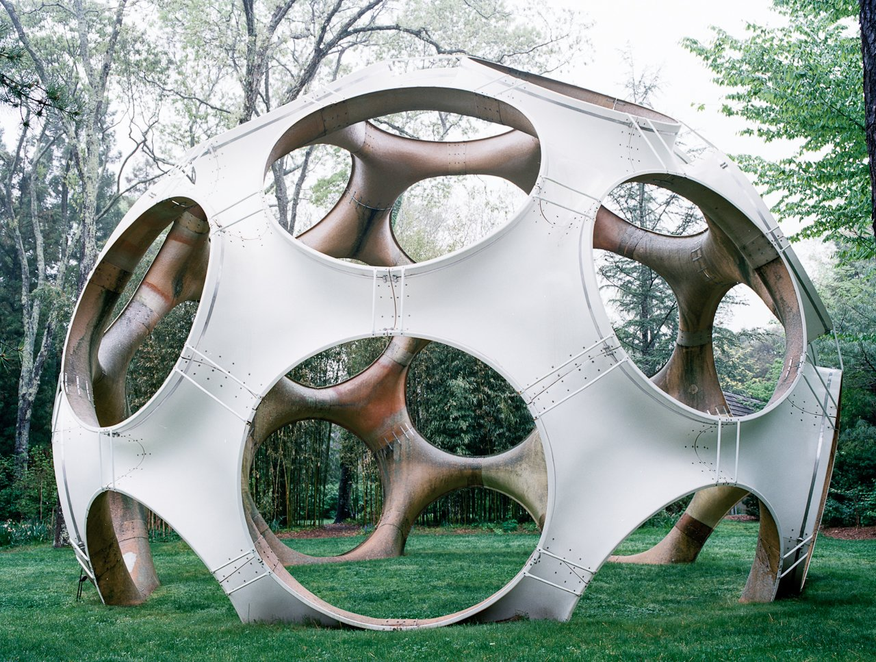 On the second lawn at LongHouse Reserve sits Fly's Eye Dome, fabricated out of fiberglass in 1998 designed by John Kuhtik from a Buckminster Fuller design.  Photo 9 of 12 in Q&A with Textile Designer Jack Lenor Larsen