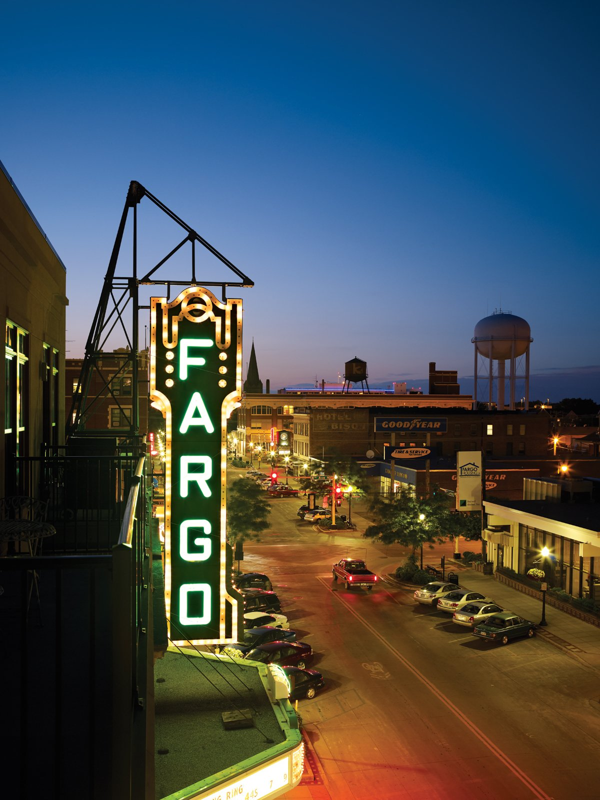 The Fargo Theatre at night.   Photo by: David Bowman  Photo 2 of 6 in Green Planning in North Dakota