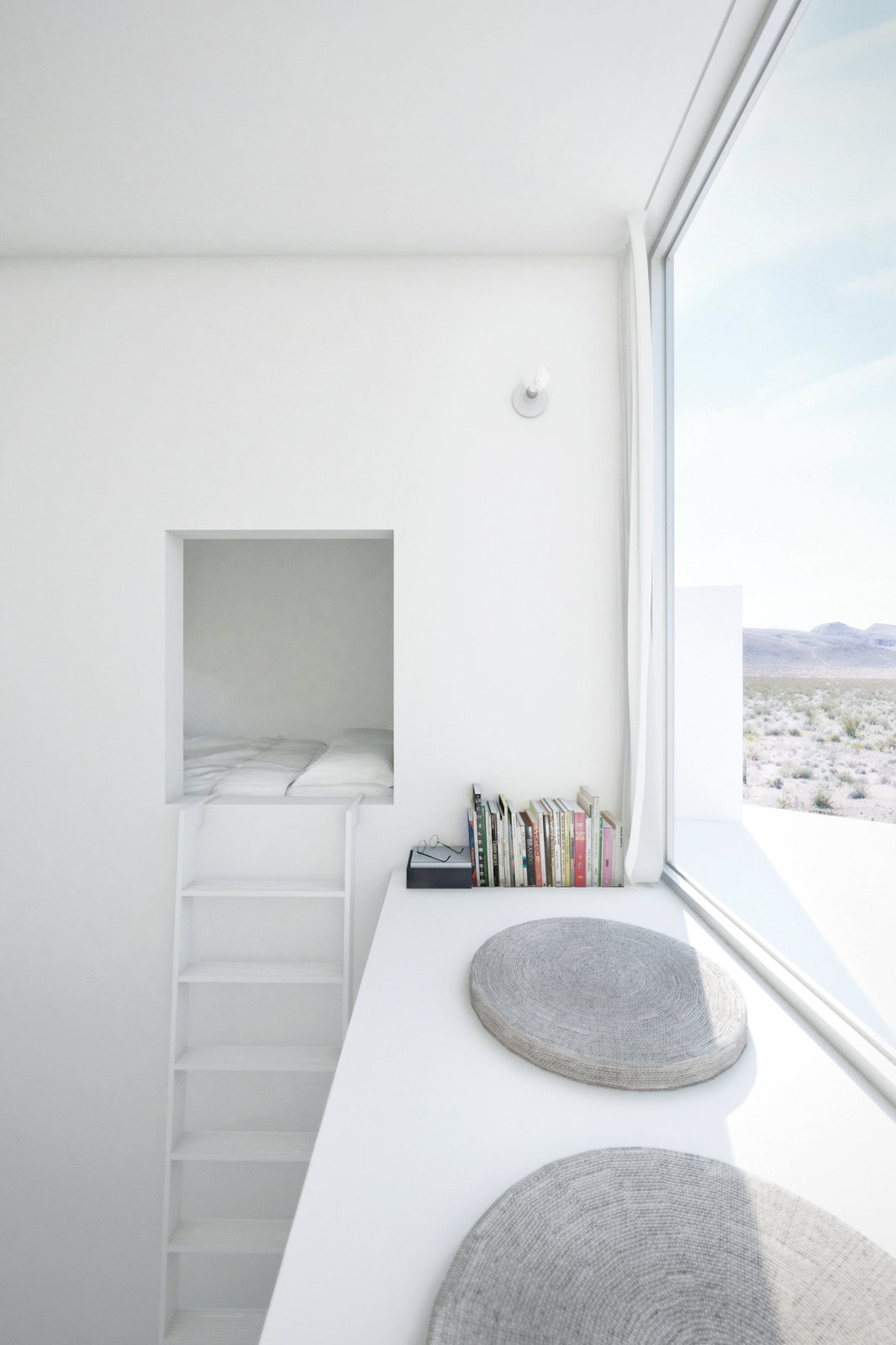 Bedroom, Wall Lighting, Bed, and Shelves A bedroom occupies the top of each tower; a ladder leads to a sleeping nook and an east-facing window seat in the Sunrise suite.  Photo 7 of 8 in Design Tips for Privacy