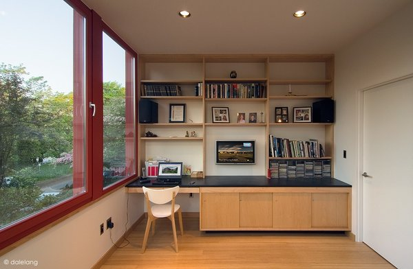 Mike's second-floor office features locally-sourced cabinetry.  Photo credit: Dale Christopher Lang PhD AIAP  Office from Angular Multi-Generational Home in Washington