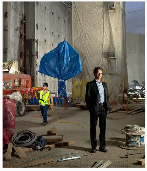 Michael Lewis dressed in contruction gear on-set at the World Trade Center contruction site in New York City.