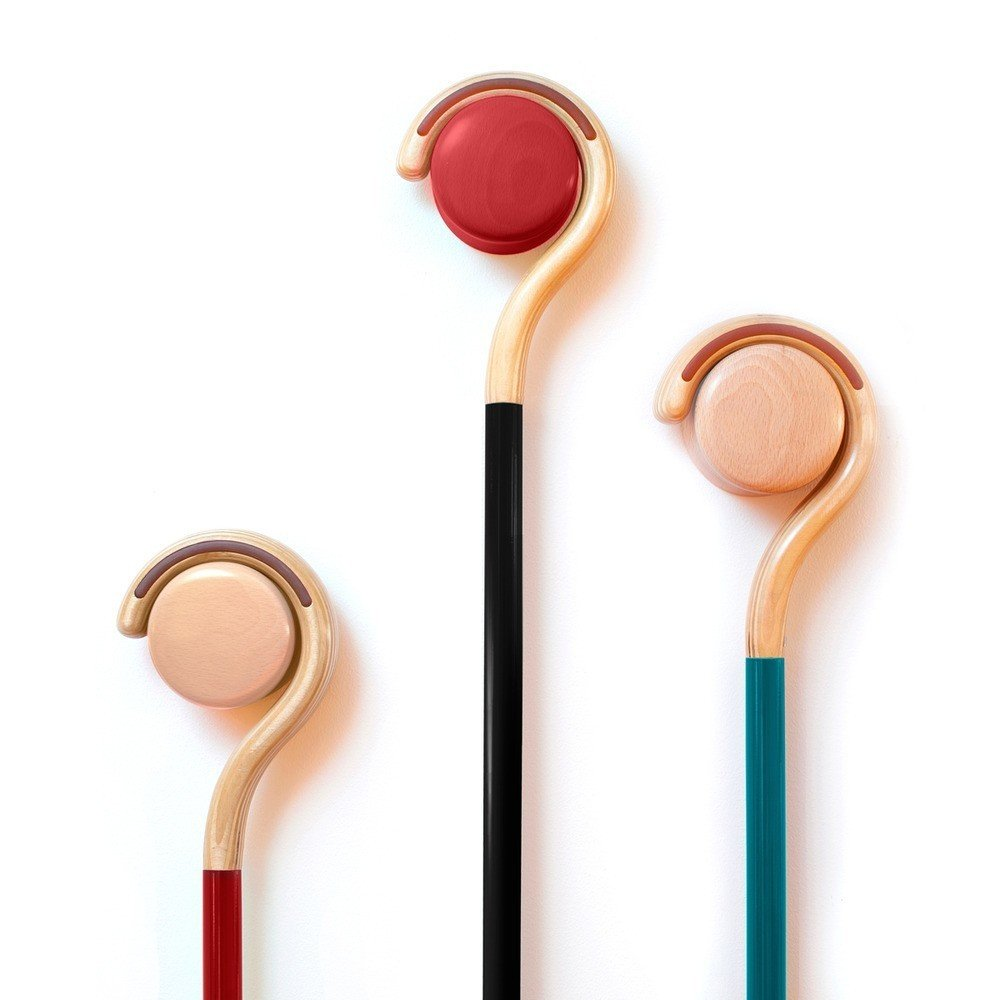 """The Rest Wall-Mounted Cane Holder from Sabi is designed as a companion item to the Sabi Classic Walking Cane, celebrating the cane as a household object, rather than something that is stashed away in a closet. Crafted from solid Baltic birch wood, Rest is a simple knob shape that will make an unobtrusive addition to a wall surface. Although initially designed to support a cane when not in use, it can also be used to hang a variety of household items, including hats, dog leashes, shopping totes, and purses.  Search """"arch support"""" from Streamlined Accessories from Sabi"""