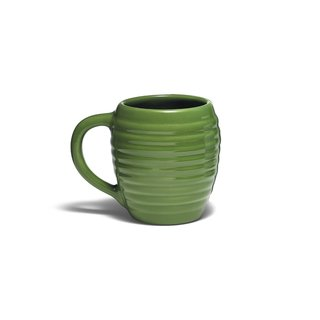 Recalling the look of the classic Bauer Pottery design from the 1930s, the Beehive Coffee Mug from the Bauer Pottery Company of Los Angeles features a pronounced handle and a tall profile that is reminiscent—as the name aptly indicates—of a beehive.