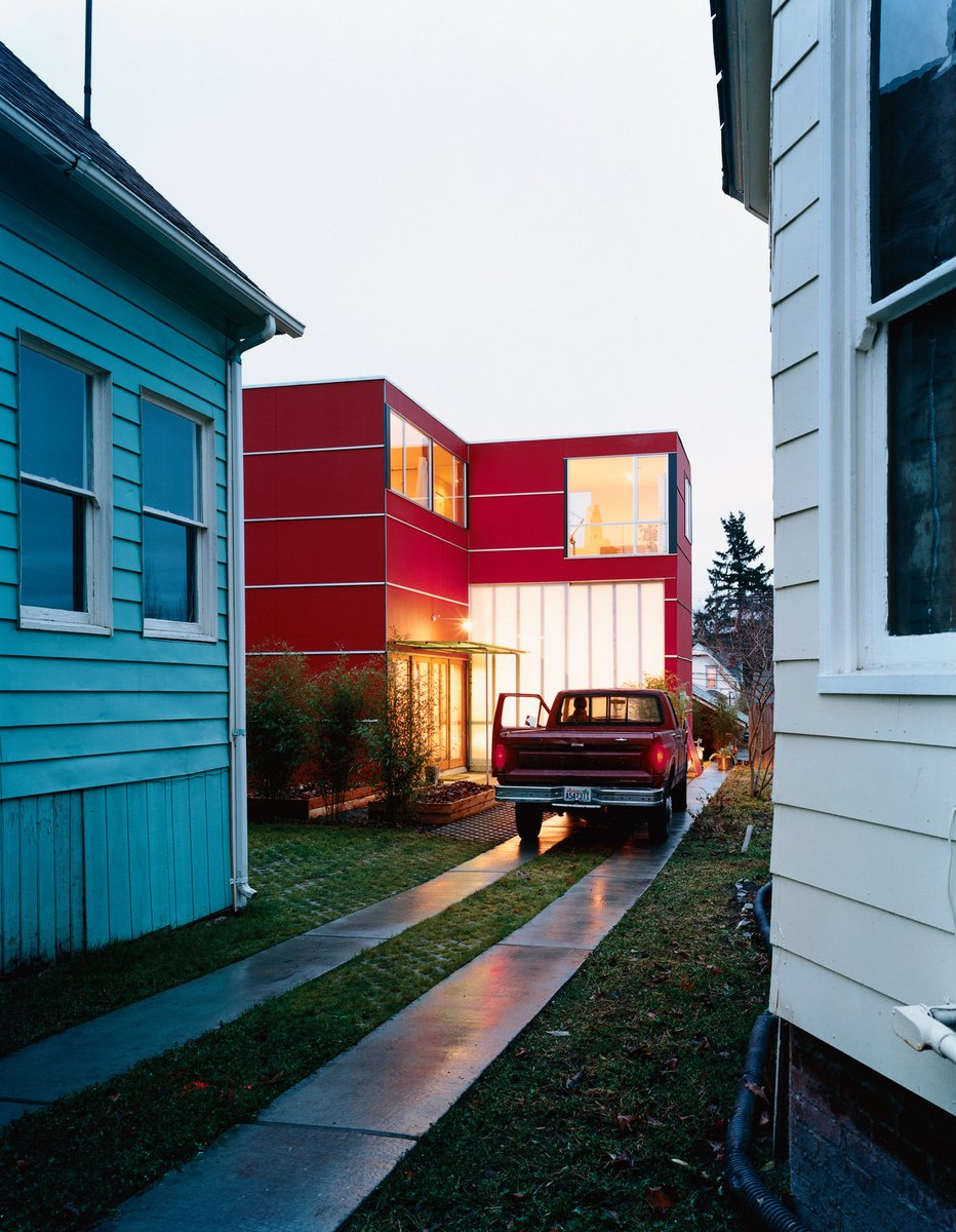 David Sarti's little red house in Seattle's sleepy Central District proves that a bit of land, ambition, and carpentry know-how can go a long way. photo by: Misha Gravenor  Photo 7 of 8 in 8 Modern Driveways from Emerald City: 5 Modern Homes in Seattle