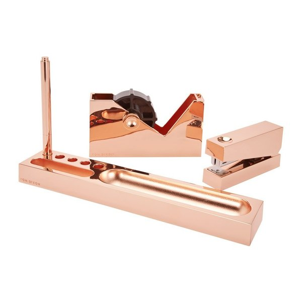 A new arrival to the Dwell Store, Tom Dixon's Cube Collection brings copper to a modern desktop. The collection includes a tray, pen, stapler, and tape dispenser that are made of copper-plated zinc alloy. The Cube Collection is defined by its geometric, cohesive look.