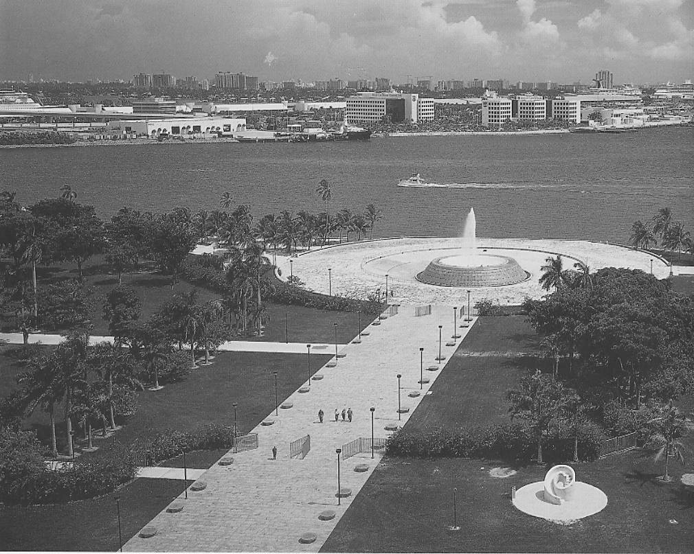 A 400-foot-long, 60-foot-wide promenade culminating in a fountain offers pedestrian access from busy Biscayne Boulevard to the waterfront.  Photo 6 of 7 in 5 Public Landscapes of Isamu Noguchi