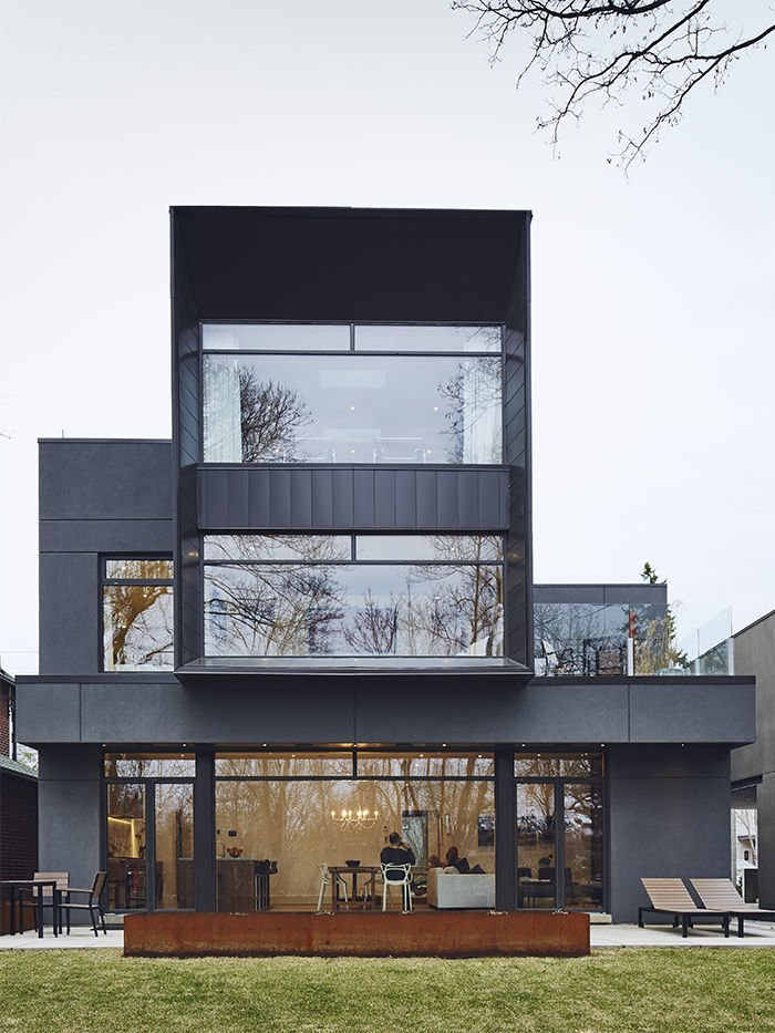 """The front facade features Cor-Ten steel fabricated by Praxy Cladding.  Search """"cor ten steel"""" from House of the Week: High-Tech Metal House Turns Heads in Toronto"""