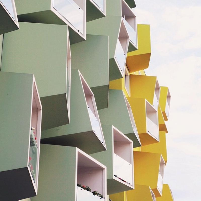 Apartment balconies in Copenhagen, Denmark.