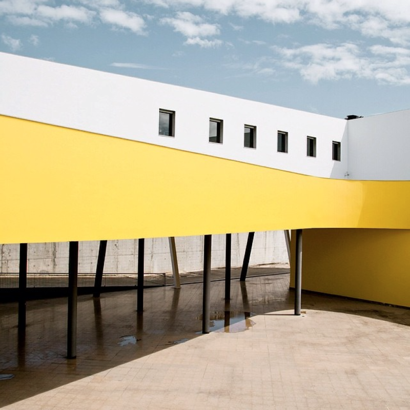 Facade and walkway at the La Escola Superior de Música in Lisbon, Portugal.
