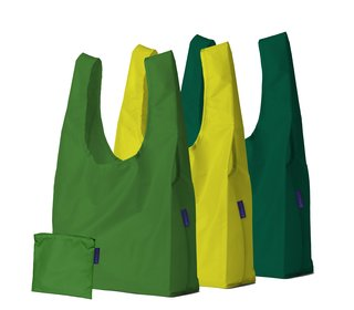The original. This set of three reusable totes from BAGGU is made in durable ripstop nylon, and can be used for groceries, books, beach gear, or gym clothes. Each tote conveniently folds into a pouch, making it easy to toss in a purse or backpack. The bags are also available in single versions.