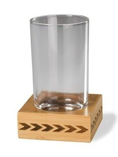 Raise a glass to minimalist Native American-inspired style. The tumbler rests on a coaster made of eco-friendly bamboo, laser engraved with a single row of arrows.