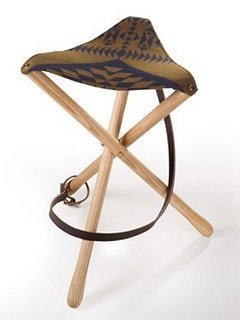 A classic essential for camp, picnic or backyard fire-pit this stool is expertly crafted in Oregon with hardwood ash legs and a seat of jacquard fabric, woven in Pendleton's American mills.