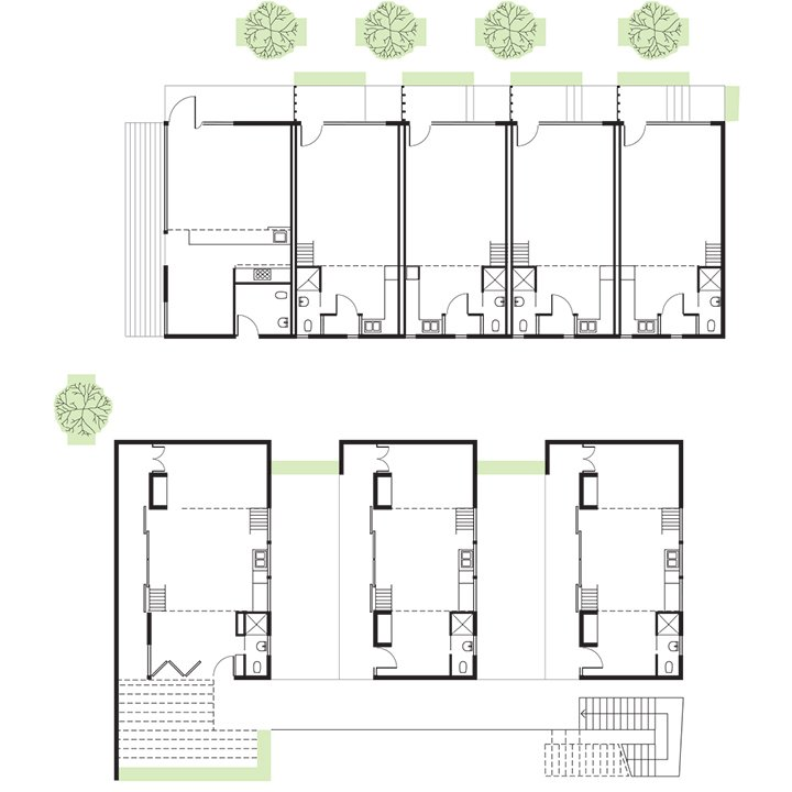 La Esquina Floor Plan  A    510-Square-Foot Corner Unit   B    450-Square-Foot Unit  C    525- and 595-Square-Foot Units  D    Bathroom  E    Kitchen  F    Terrace-Courtyard  Photo 9 of 14 in San Diego Teaches Us How Micro-Living Can Thrive