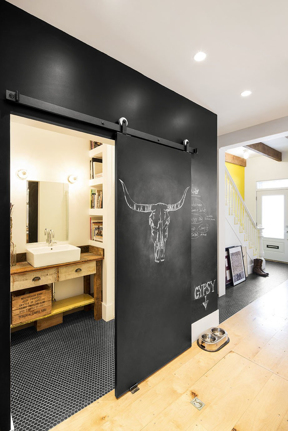 sliding barn door with chalkboard paint