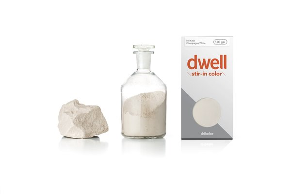 From drikolor's Champagne White for Dwell. Champagne White is derived from champagne chalk, which has a dry and velvety texture with large pigment particles, making it an ideal source for white pigment. Ninety million years ago, European chalk was embedded in an ancient sea through the slow accumulation of marine life, debris, and shells that are now calcified and have been raised by movement in the earth's crust. In the Champagne region of France, chalk deposits in fertile soil help nurture the vines, storing warmth and water, giving champagne the distinctive tart and aromatic flavor sparkling wine drinkers expect. This same chalk is the source of white pigment that creates the cool, slightly beige Champagne White paint.