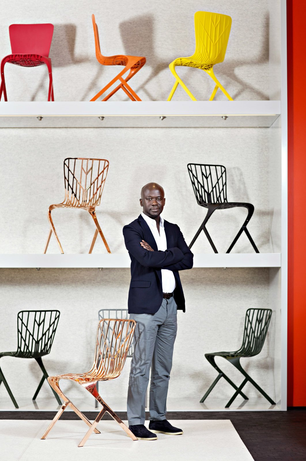 Dwell: Your collection's release coincides with Knoll's 75th anniversary. What was it like to collaborate with a company that has such a long—and revered—history?  Adjaye: It has been a huge learning curve. It was like a testing ground for ideas that interest me and an opportunity to engage in a production process with Knoll's technical team. While I have previously designed objects—I have never worked on production furniture. It is very different. Furniture can be everywhere and used by everyone, unthinkingly in their daily lives—it is a background. There is something very powerful and very rewarding about that.  Photo by Dorothy Hong  Photo 3 of 5 in Gear Up For Dwell on Design 2017 from David Adjaye for Knoll