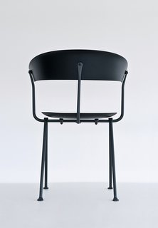 Erwan and Ronan Bouroullec's new Officina collection for Magis includes chairs, stools, and tables made with wrought-iron frames, marking the brothers' first experimentation with the material. In this age-old technique, iron is hammered into shape by hand.