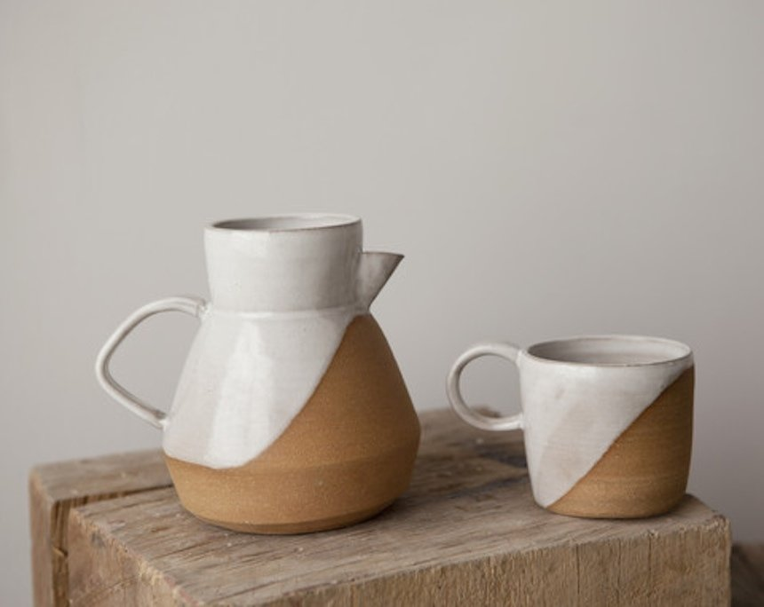 Duck Pitcher and Diagonal Camp Mug by Helen Levi  WorkOf's portfolio includes patterned ceramics by potter/photographer Helen Levi. Photo by Emily Johnston.  Photo 3 of 6 in WorkOf: Building a Community of Brooklyn Makers