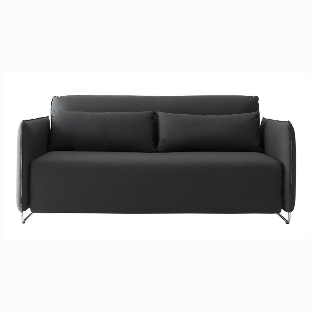 """The Cord Sleeper Series was designed by busk+Hertzog for Softline and is available as a full sofa or as a lounge chair. The Cord Sleeper Sofa is an innovative sofa bed that is designed to communicate with urban living—it has a slim profile and folds into a smaller footprint than typical double beds. By simply unfolding the sofa, the Cord Sleeper Sofa easily pulls out into a bed, and the back rest can be adjusted to eight different positions to provide ideal comfort, making it an inviting sleeping option for guests. The back cushions on the sofa are filled with down feathers, making them a great transitional pillow for sleeping.  Search """"modern lakeside retreat stripped down basics"""" from New Designs at the Dwell Store"""
