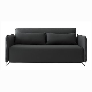 The Cord Sleeper Series was designed by busk+Hertzog for Softline and is available as a full sofa or as a lounge chair. The Cord Sleeper Sofa is an innovative sofa bed that is designed to communicate with urban living—it has a slim profile and folds into a smaller footprint than typical double beds. By simply unfolding the sofa, the Cord Sleeper Sofa easily pulls out into a bed, and the back rest can be adjusted to eight different positions to provide ideal comfort, making it an inviting sleeping option for guests. The back cushions on the sofa are filled with down feathers, making them a great transitional pillow for sleeping.